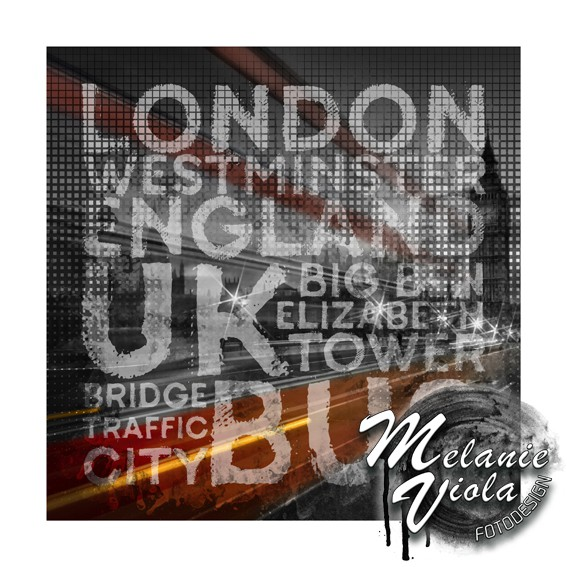 Graphic Art LONDON Verkehr auf der Westminster Bridge - OhMyPrints Onlineshop
