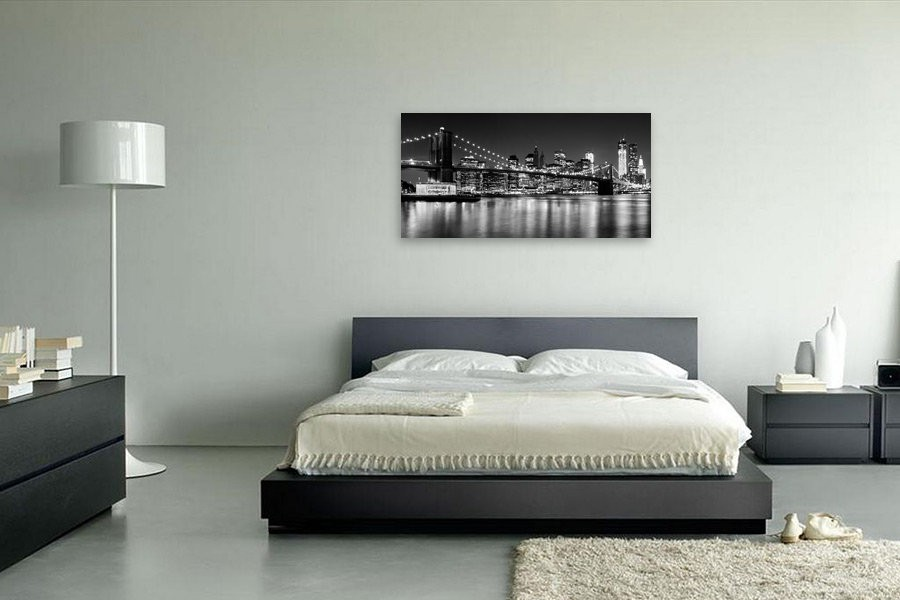 Night Skyline MANHATTAN Brooklyn Bridge s/w - OhMyPrints Onlineshop