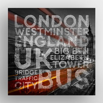 Graphic Art LONDON Westminster Bridge Traffic Alu-Print - artboxONE Onlineshop