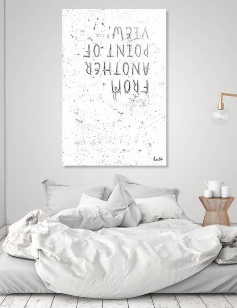 "LINK - CURIOOS - Acrylic Glass Print ""TEXT ART SILVER From another point of view 