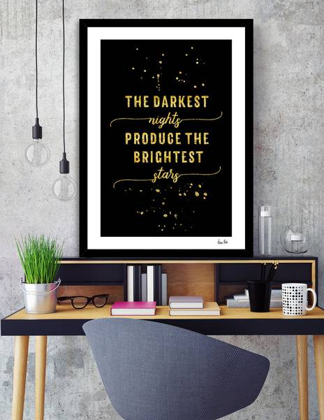 LINK - CURIOOS - Art Print - TEXT ART GOLD The darkest nights produce the brightest stars