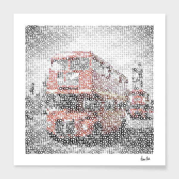 Link to CURIOOS - Art Print - Typographic Art | LONDON Westminster Bridge Buses