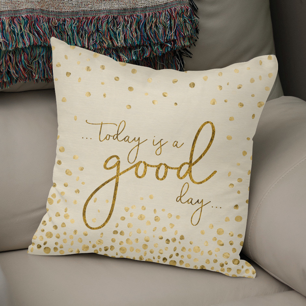 LINK CURIOOS - Throw Pillow - Text Art TODAY IS A GOOD DAY glittering gold