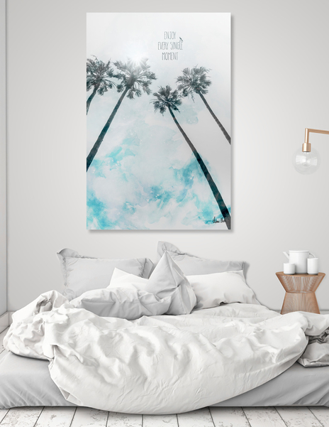 LINK - CURIOOS - Acrylic Glass Print - Idyllic palm trees enjoy every single moment