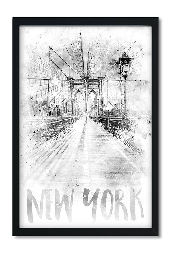 """Monochrome Art NYC Brooklyn Bridge 