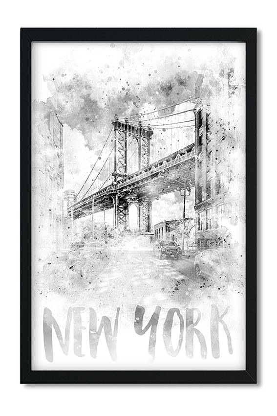 """Monochrome Art NYC Manhattan Bridge 