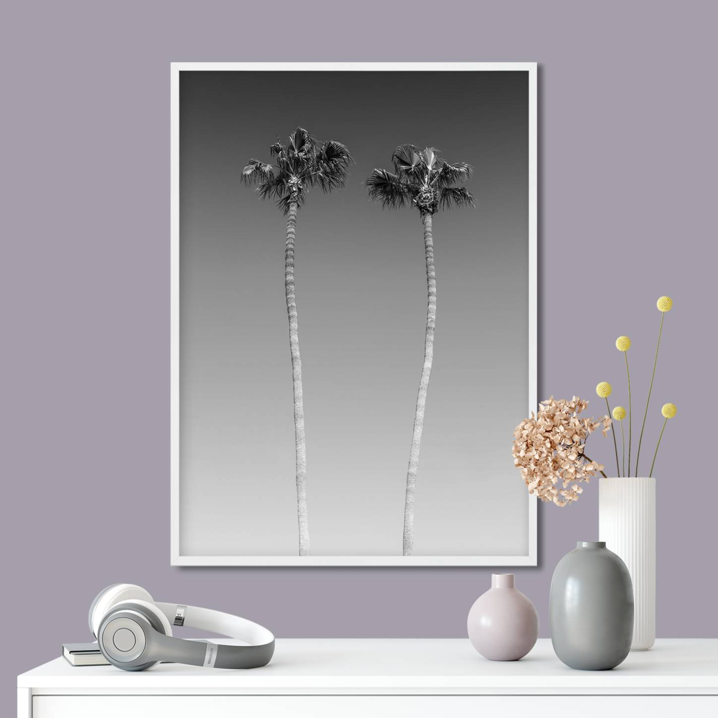 """Palm Trees In Black & White"" - Link iCanvas"