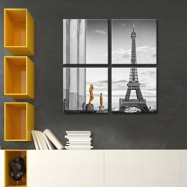 Eiffel Tower View Multi Panel Canvas Wall Art - LINK ElephantStock