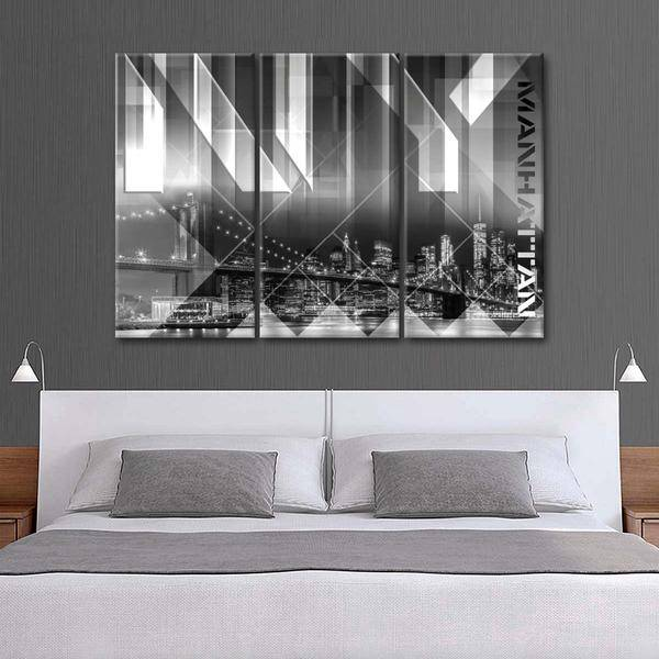 """Modern View Brooklyn Bridge"" Multi Panel Canvas Wall Art - LINK ElephantStock"