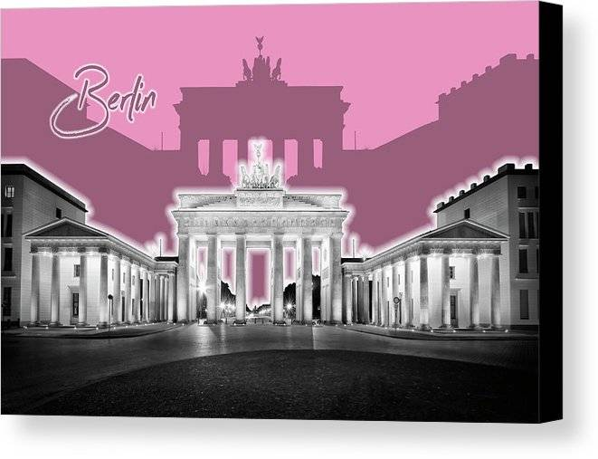 "Link to Fine Art America - ""BERLIN Brandenburg Gate - Graphic Art - pink"""