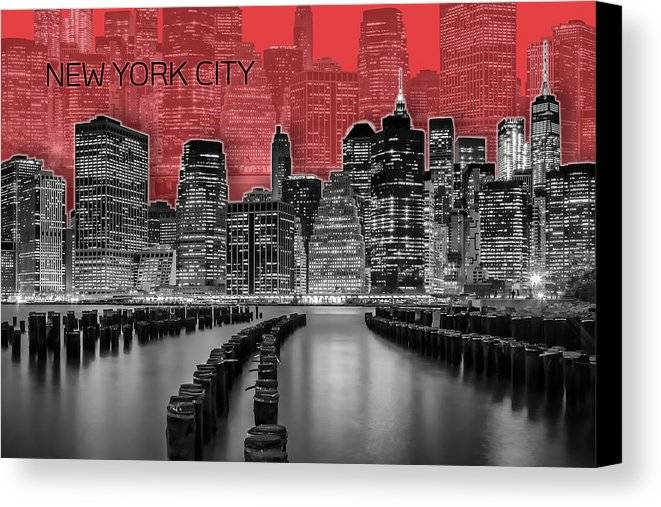"Link - Fine Art America - ""Manhattan Skyline - Graphic Art - Red"""