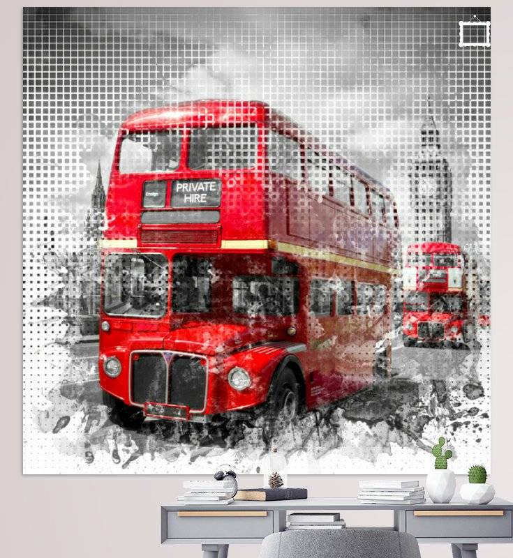 Graphic Art LONDON WESTMINSTER Rote Busse - OhMyPrints Onlineshop