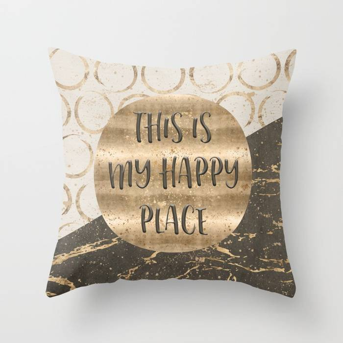 "Link SOCIETY6 Throw Pillow ""GRAPHIC ART This is my happy place"""