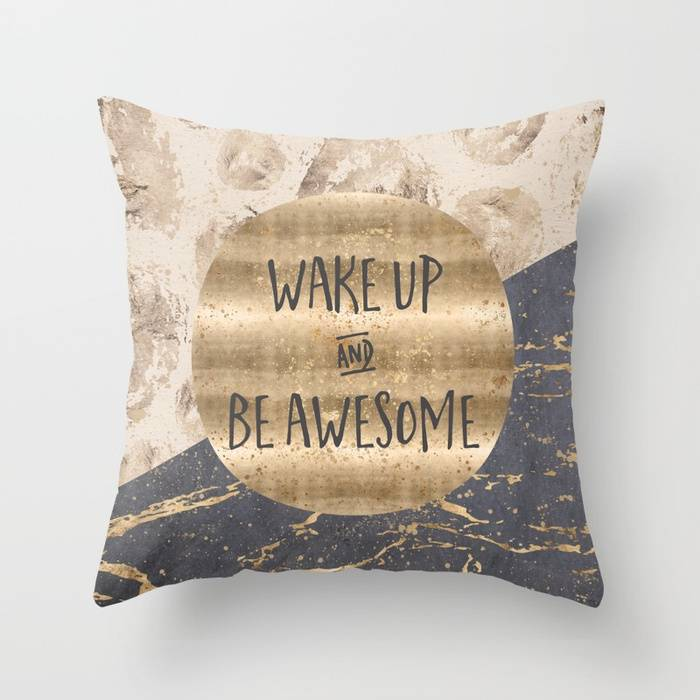 "Link SOCIETY6 Throw Pillow ""GRAPHIC ART Wake up and be awesome"""