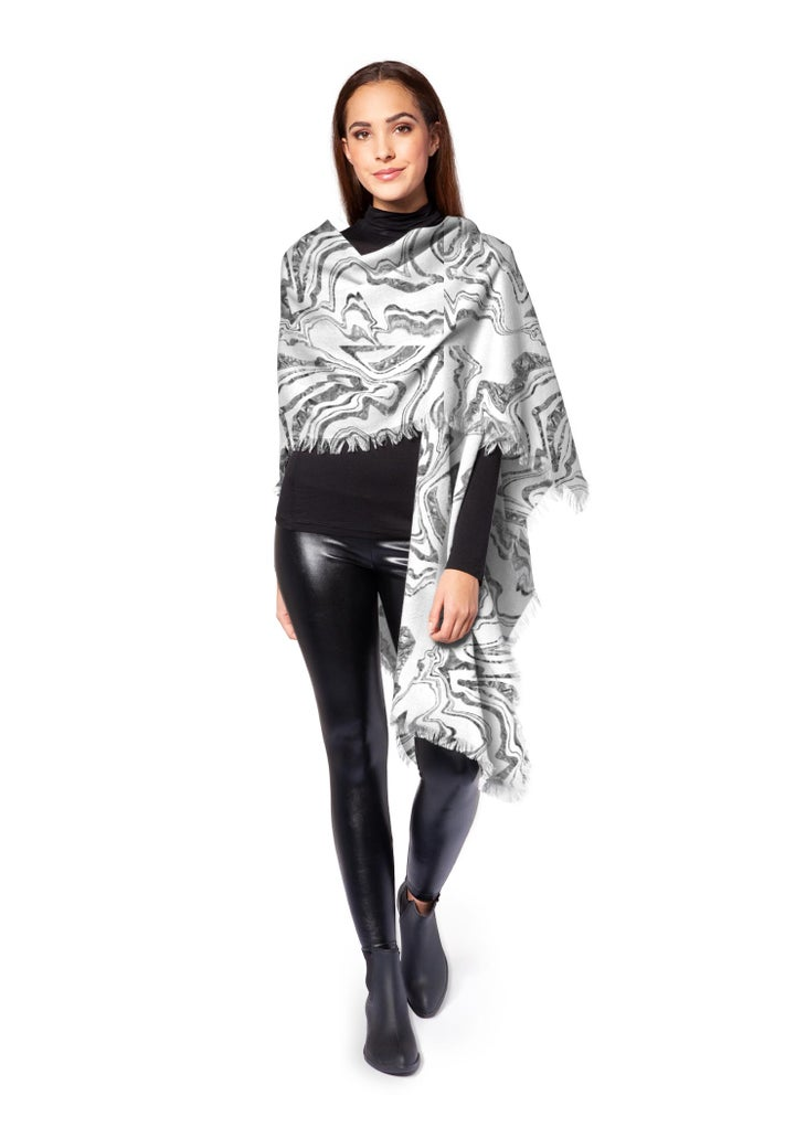Click to enlarge - Liquid Marble No. 3 - Wool Poncho Wrap