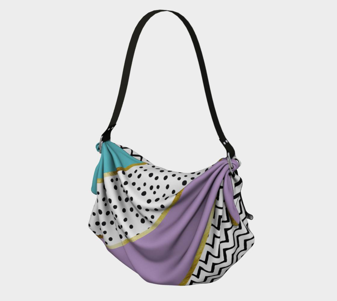 LINK - Origami Tote (vorne/front) Happy Abstract | purple cyan - ART OF WHERE