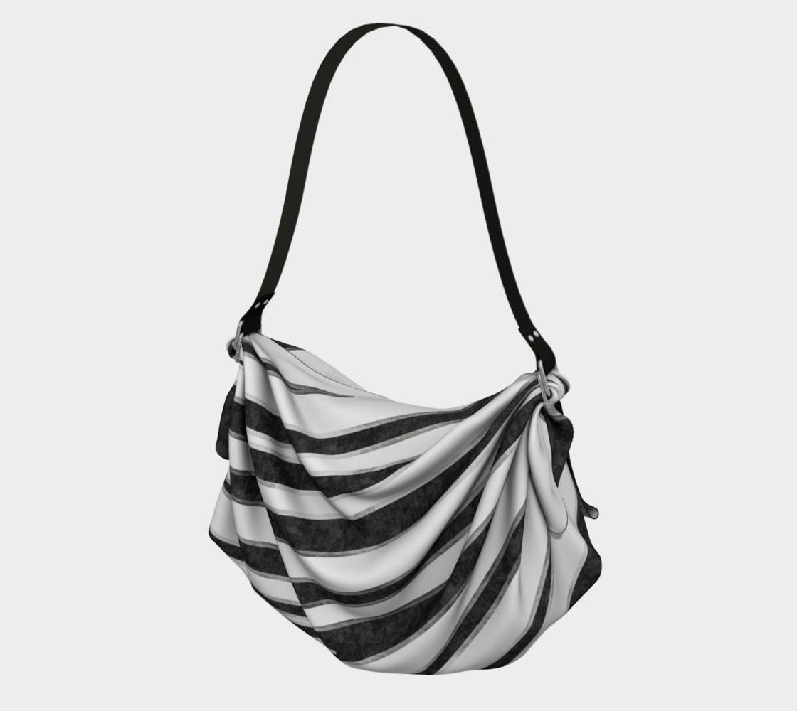 LINK - Origami Tote (vorne/front) HAPPY ABSTRACT | Zebra pattern | black-silver - ART OF WHERE