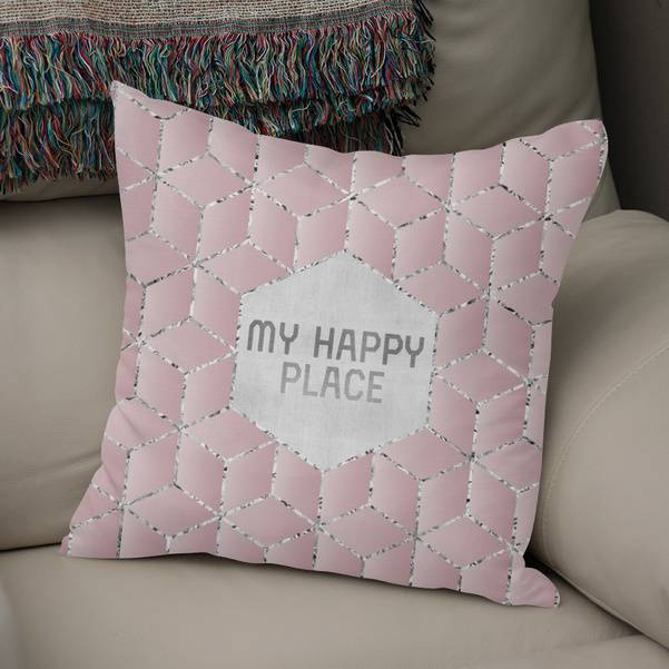 """GRAPHIC ART My happy place"" Throw Pillow - LINK CURIOOS"