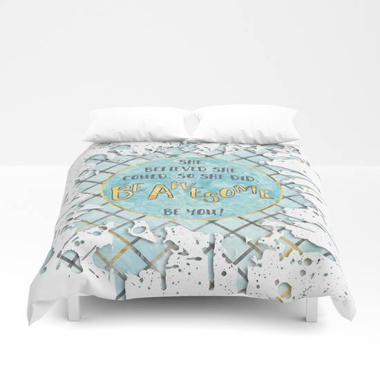"Link SOCIETY6 Duvet Cover ""Text Art SHE BELIEVED 