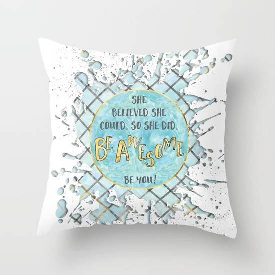 "Link SOCIETY6 Throw Pillow ""Text Art SHE BELIEVED 