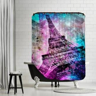 "Link WAYFAIR.COM Duschvorhang / Shower Curtain ""Pop Art PARIS Eiffel Tower"""